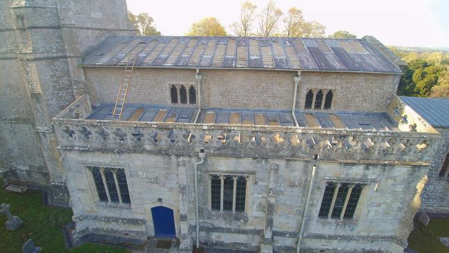 Drone footage showing the extend of the damage to St Mary's Church roof.