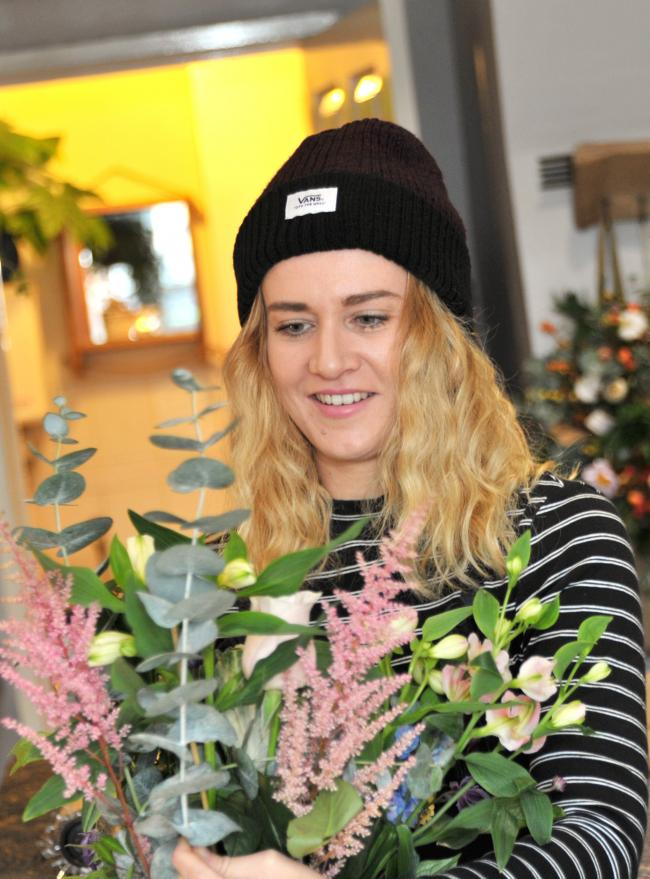 Jodie Leahy at her flower shop in Wroughton, she was shortlisted for a national bridal flower comp..Pic - Jodie Leahy.Date 1/11/18.Pic by Dave Cox.