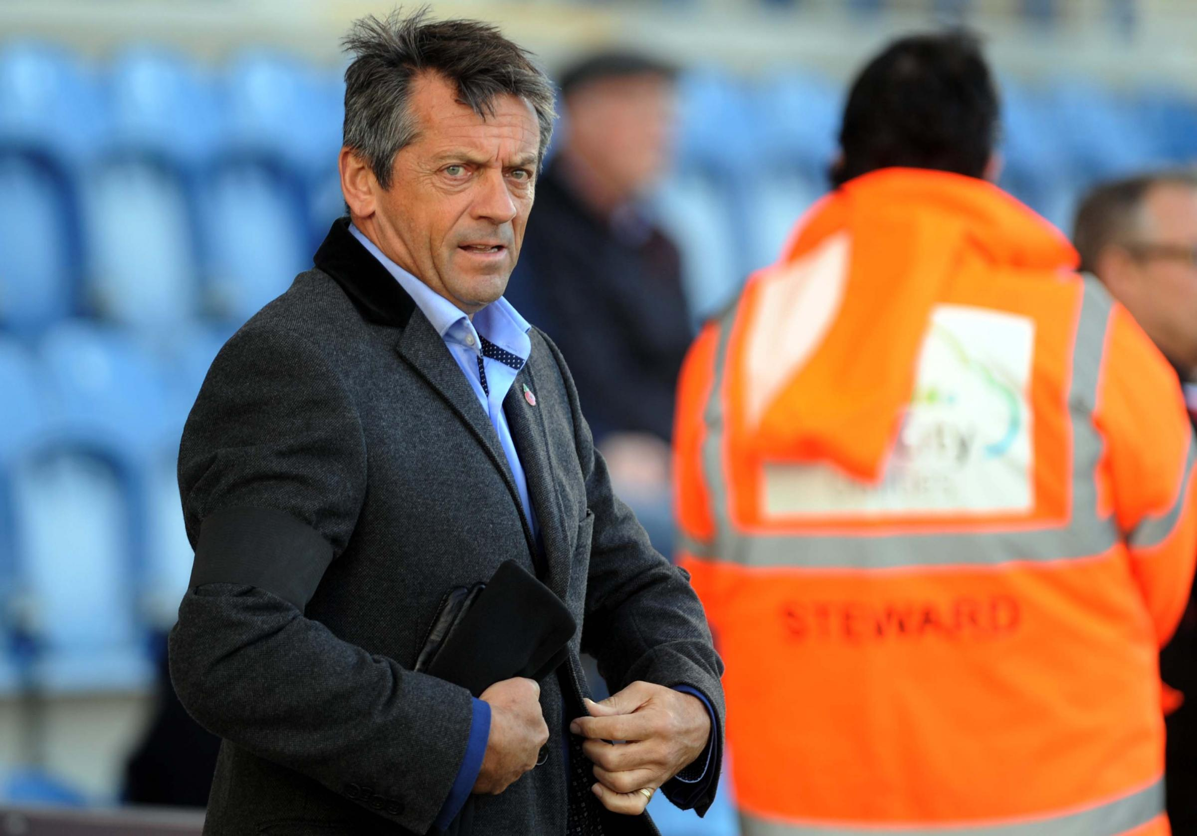 Phil Brown on the touchline at Colchester. PICTURE: DAVE EVANS