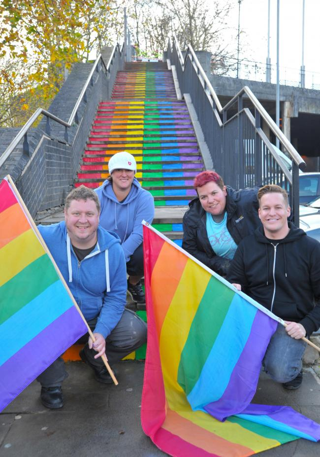 Pride community meeting with Phoenix, Wyvern Theatre steps painted with Pride colours..left 2 right .Pic - Lee Hare, Kate Jackson, Jo Sharpe, Phoenix Stewarts.Date 15/11/18.Pic By Dave Cox.