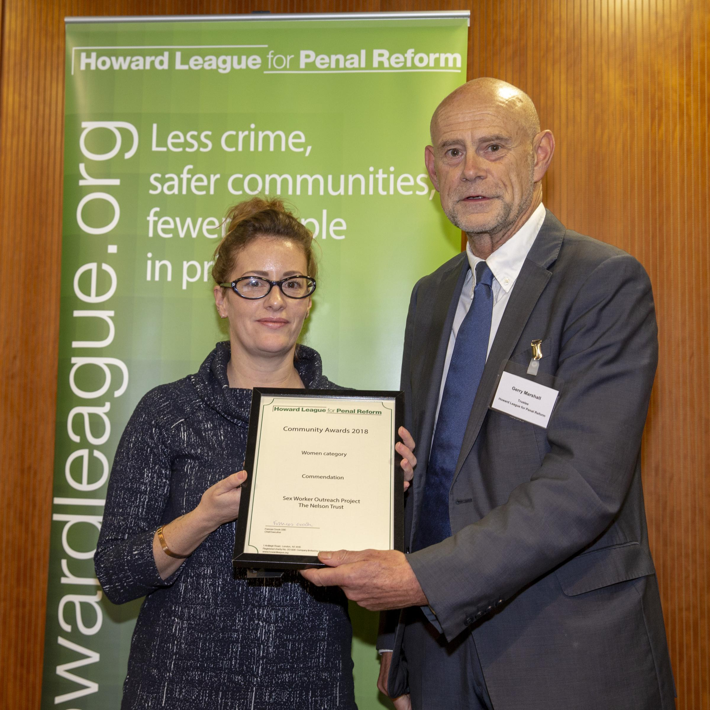 Katie Lewis is handed the Howard League commendation. Picture: Andy Aitchison