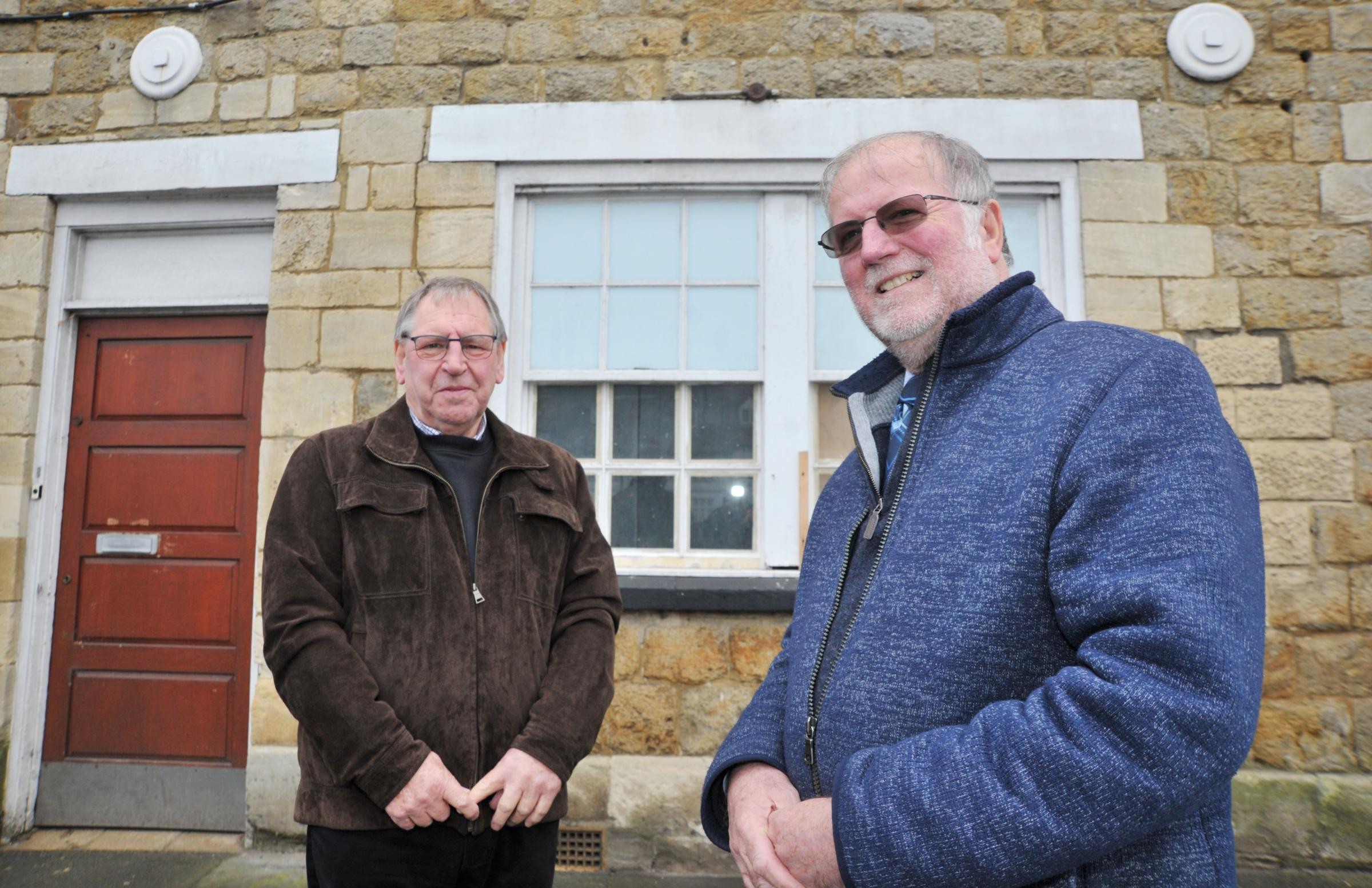 Highworth Community Partnership Group want to transform the old Loyds bank building into museum & tourist info centre..left 2 right .Pic - Keith Smith ( chair of Highworth Community group ), Phil Baker ( Chair of Highworth tourist group ).Date 23/11/1