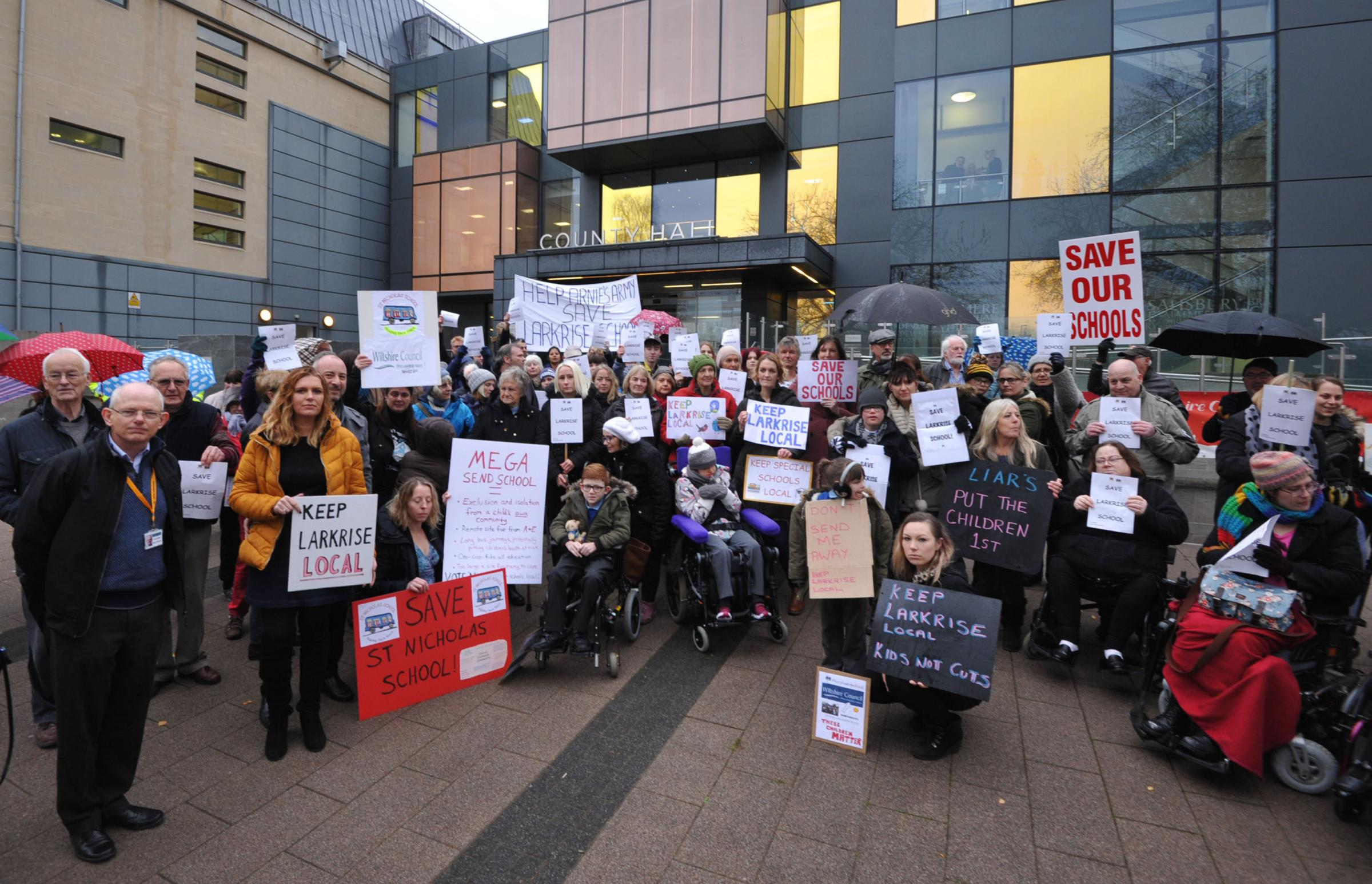 Larkrise  School  Protest against closure. Campaigners outside Country Hall against the  proposed closure of Special Schools. Larkrise and St Nicholas.. Photo Trevor Porter 60072 5..