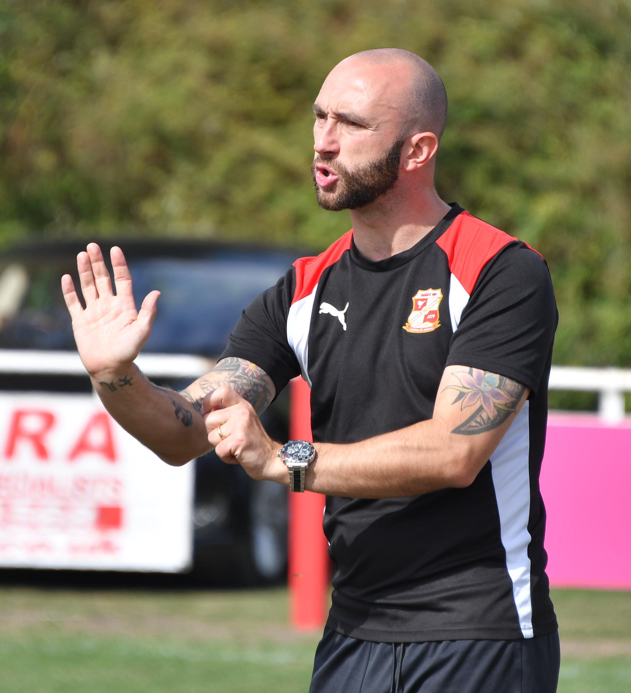 Swindon Town Ladies boss Dan Jones watches the action during his side's clash with Poole Town Ladies. Picture: Calyx Picture Agency