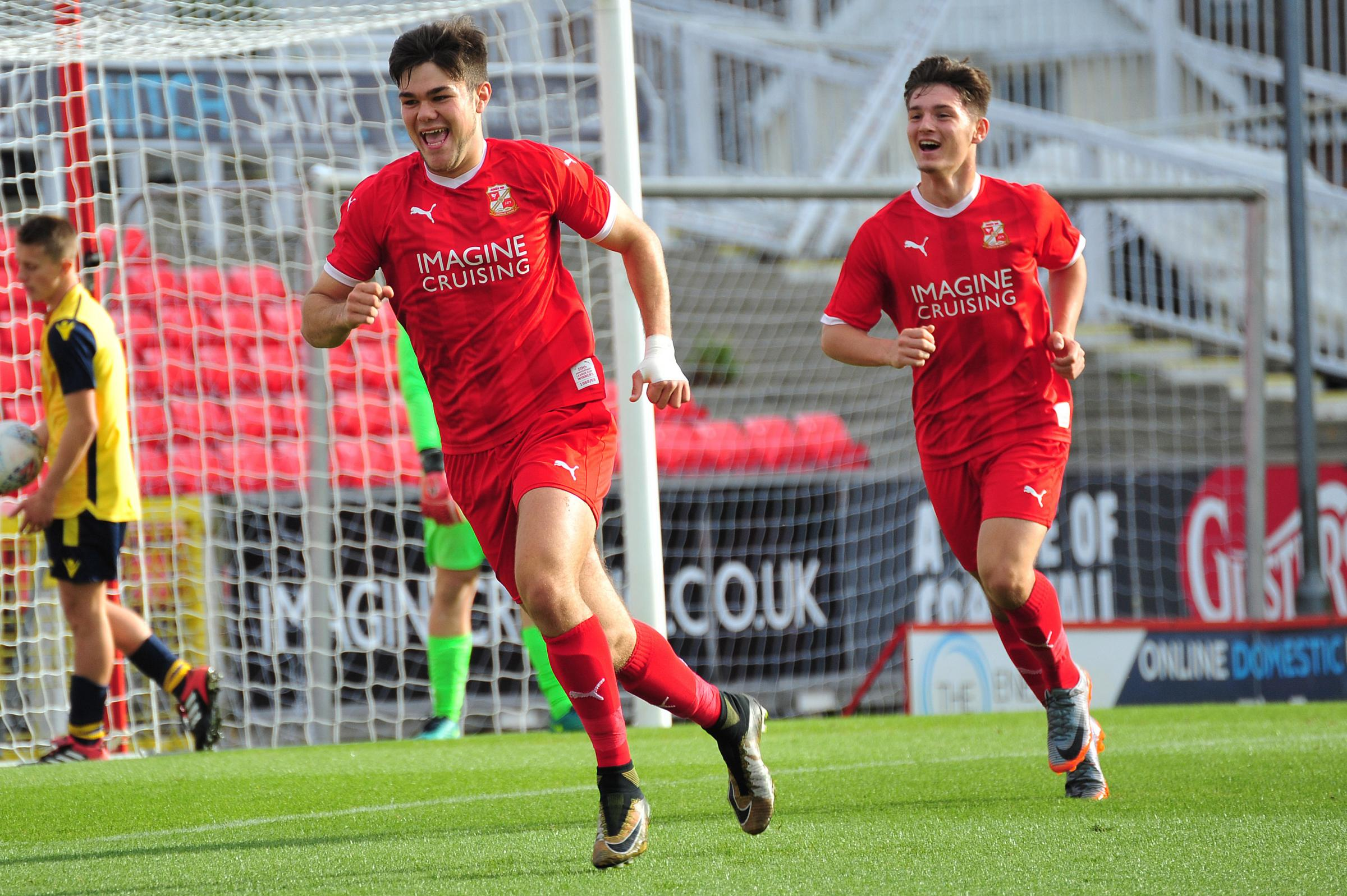Action from Swindon Town U18s FA Youth Cup win over Moneyfields. PICTURE: SHAUN REYNOLDS - Teoman Atik celebrates scoring Swindon's first goal