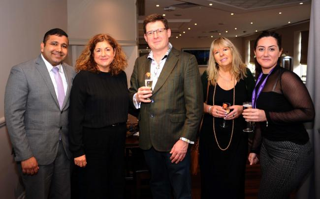Santiago Monteiro and  Emma Richards from the Double Tree,  Peter Davison, Secret Agent marketing; Flicky Harrison, of Flick's Video Productions and Swindon Advertiser journalist, Gemma George,  centre manager of Fig Offices Picture: Dave Evans