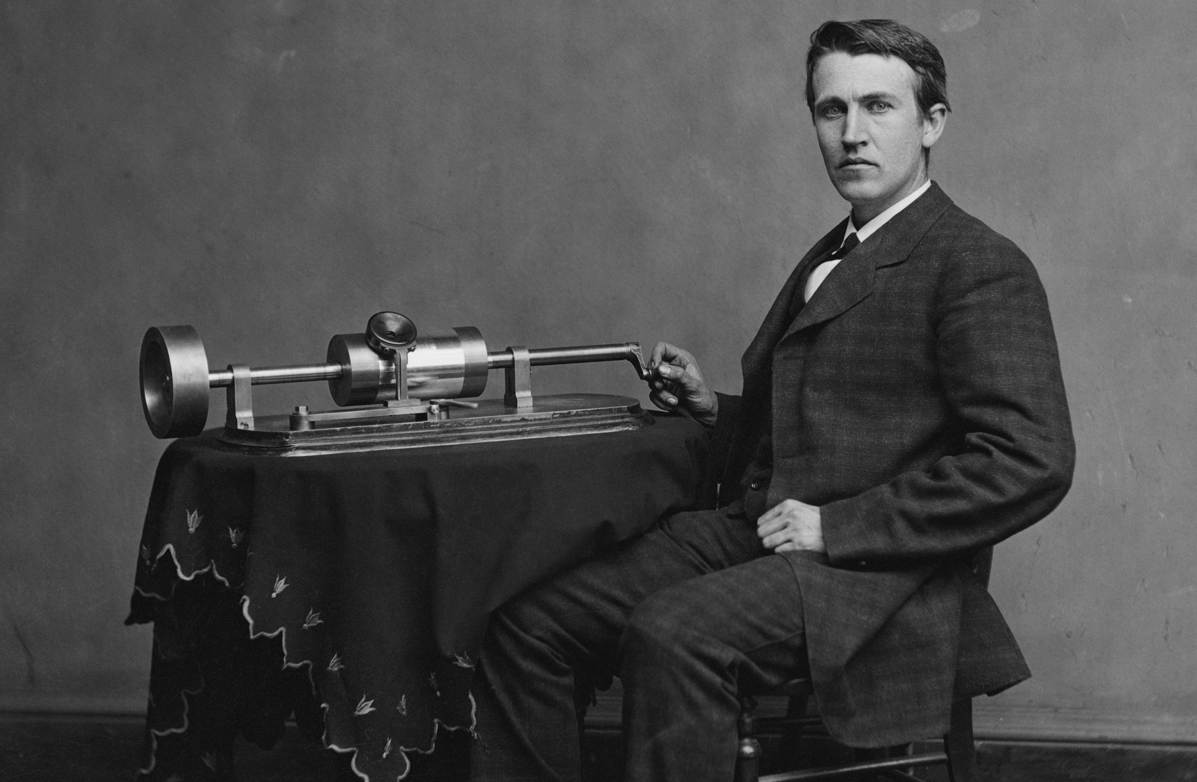 Thomas Edison and his phonograph - he made the first recording of the human voice on this day in 1877