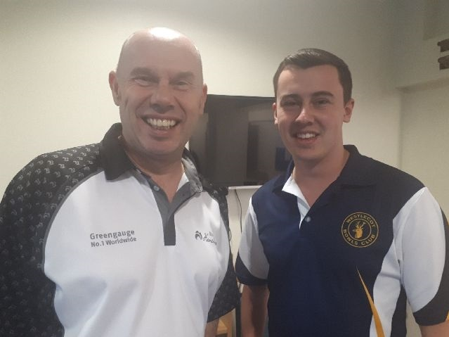 Westlecot's losing semi-finalists in Dolphin Open Singles tournament: left to right Neil Smith and Phil Gregory.