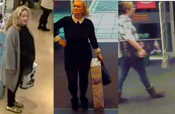 Three women police want to speak to in connection with thefts from John Lewis in Swindon. Picture: WILTSHIRE POLICE