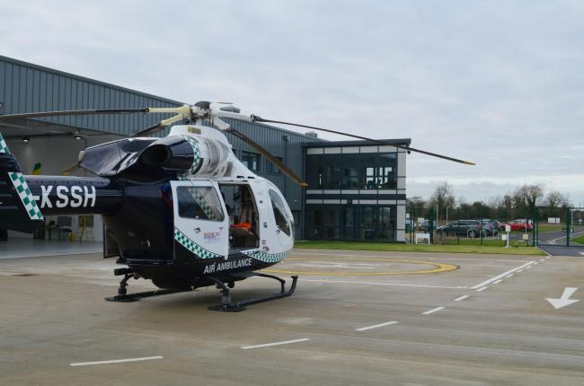 The MD 902 helicopter on the helipad at Wiltshire Air Ambulance's Semington base                Picture: WAA