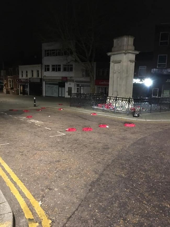 Poppy wreaths were scattered around the Swindon Cenotaph by a vandal on Saturday morning. Picture: WILTSHIRE POLICE