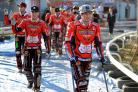 Swindon Robins v Rye House       Pic Dave Evans.Jason Doyle leads out the Robins on crutches.
