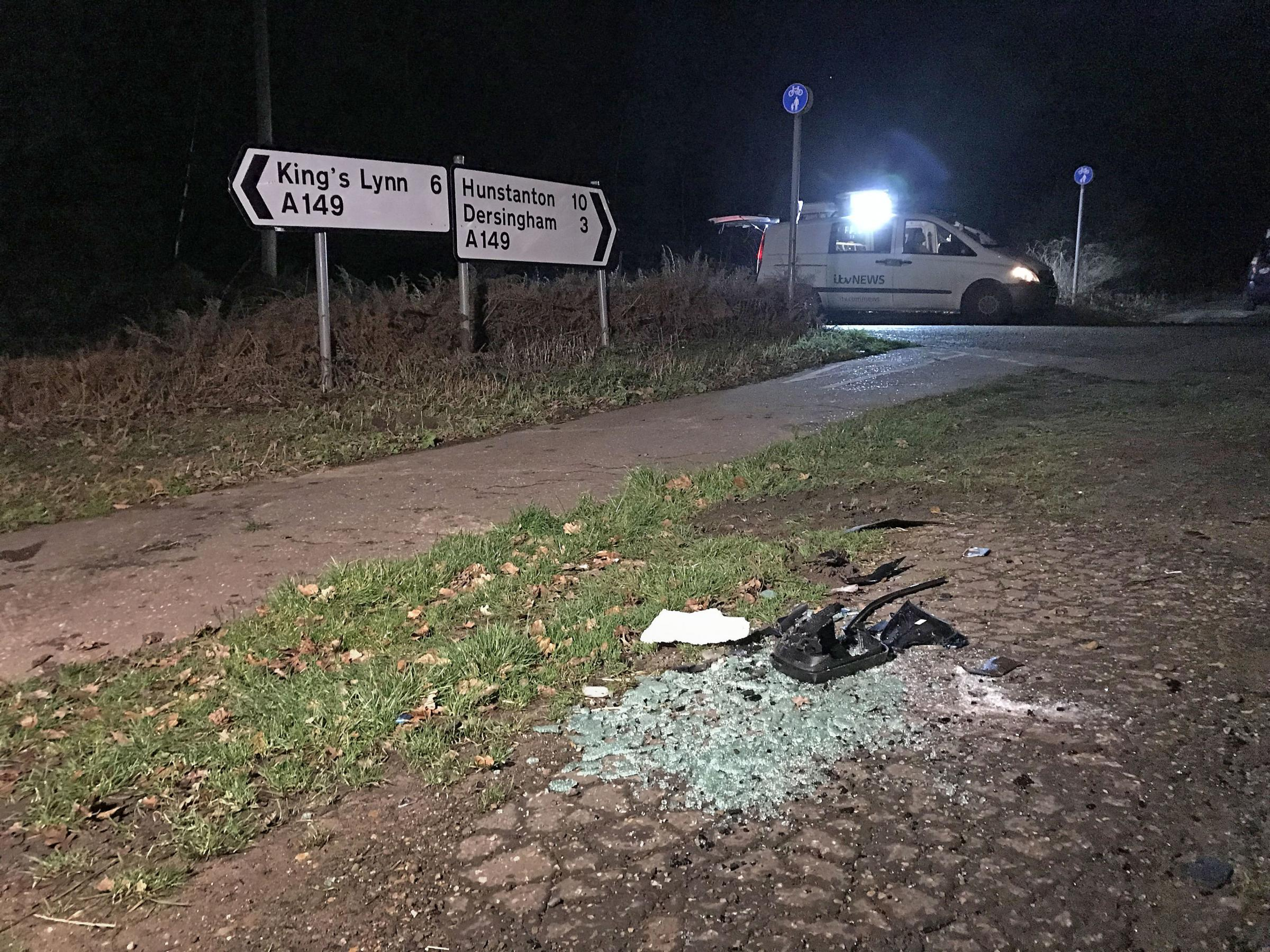 The scene near to the Sandringham Estate where the Duke of Edinburgh was involved in a road accident while driving. PRESS ASSOCIATION Photo. Picture date: Thursday January 17, 2019. Philip, 97, was not injured in the crash on Thursday afternoon, Buckingh