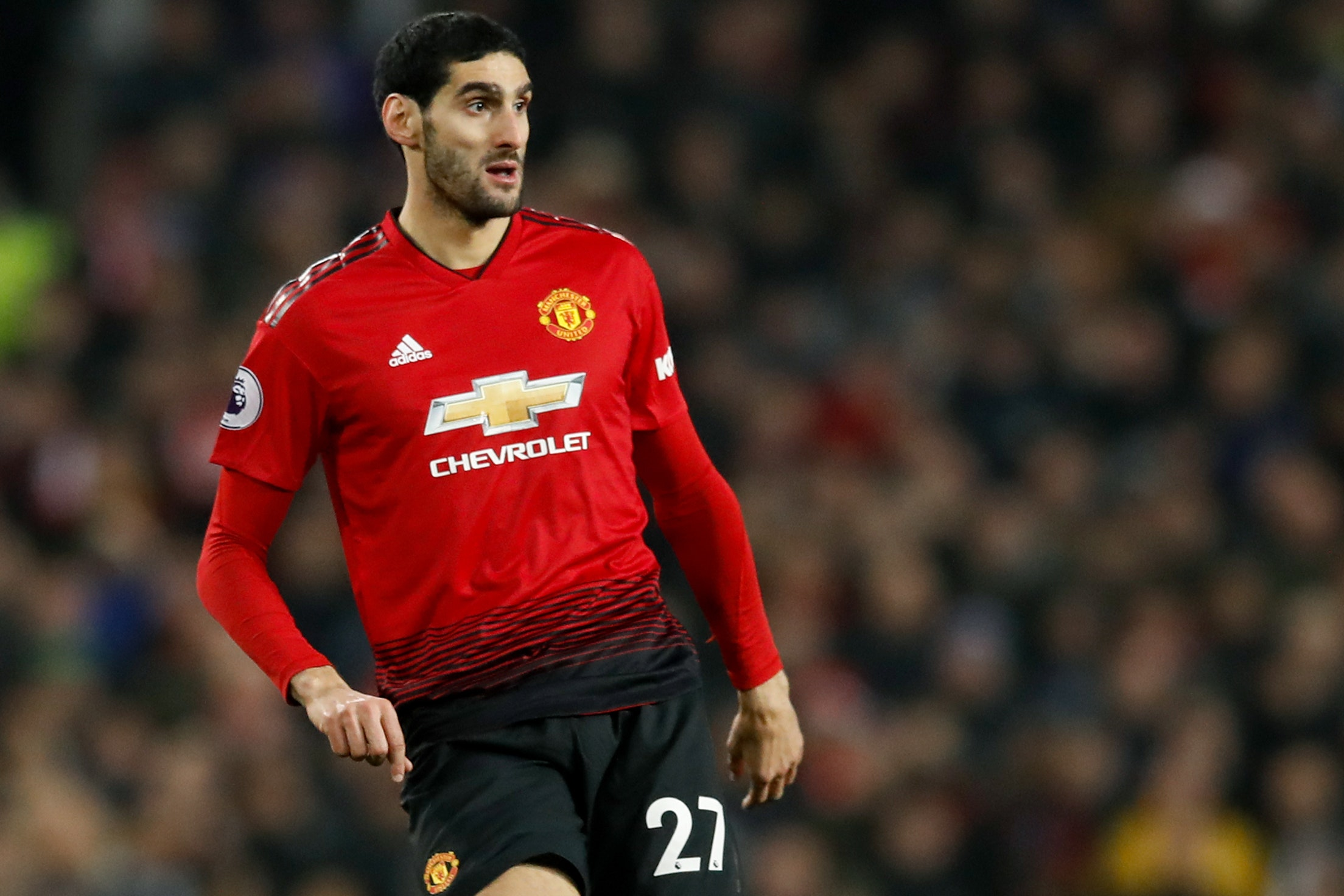 Manchester United's Marouane Fellaini has been ruled out for up to a month