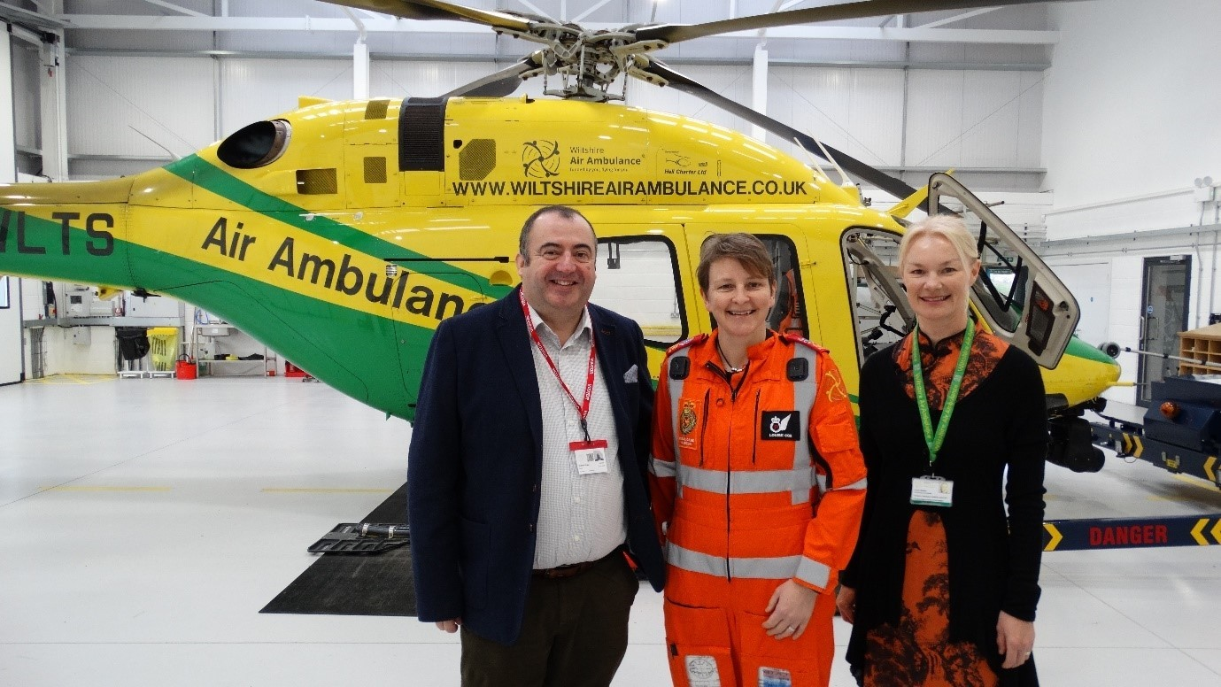 The Wiltshire Air Ambulance crew with Graham Drake from Rygor