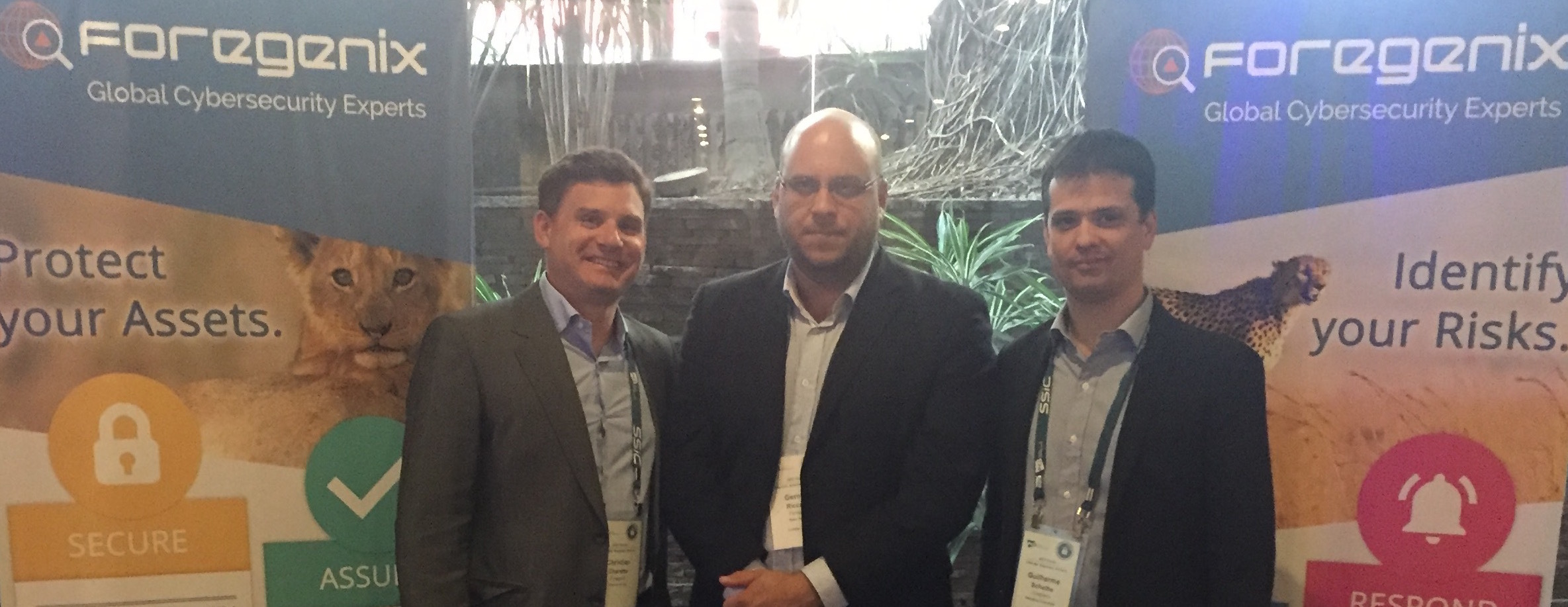 Christian Charette, director of compliance and risk services and MD of Foregenix Latin America, German Riccardi, sales manager for Latin America and Guilherme Scheibe managing consultant Brazil.