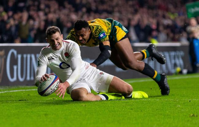 Jonny May scores a try for England in last Autumn's Test against Australia