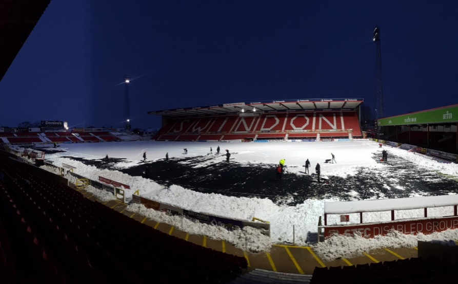 The snow-covered pitch at the Energy Check County Ground last night. PICTURE: SWINDON TOWN FC