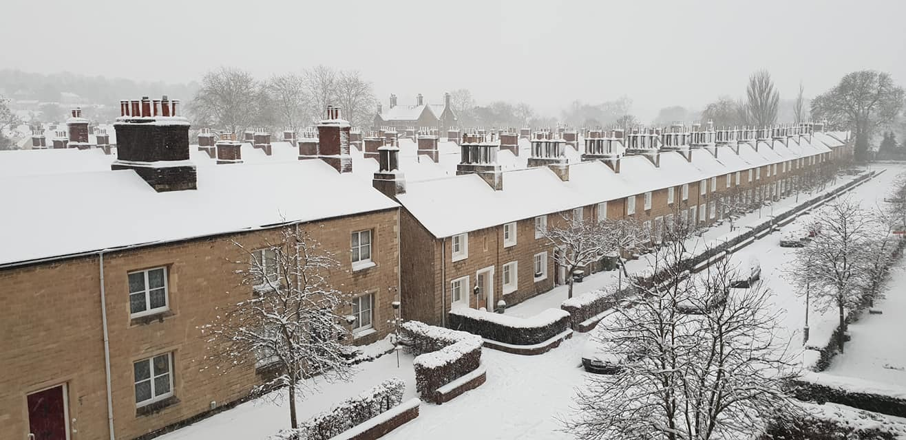 Hannah Jane Parry's snow covered image of the Railway Village.