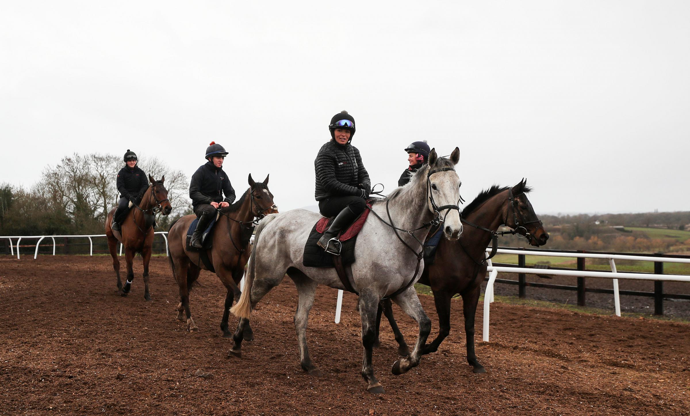 Race horses from a yard in Worcestershire leave the gallops. An outbreak of equine flu has forced the cancellation of all British racing on Thursday. PRESS ASSOCIATION Photo. Picture date: Thursday February 7, 2019. The British Horseracing Authority (BHA)