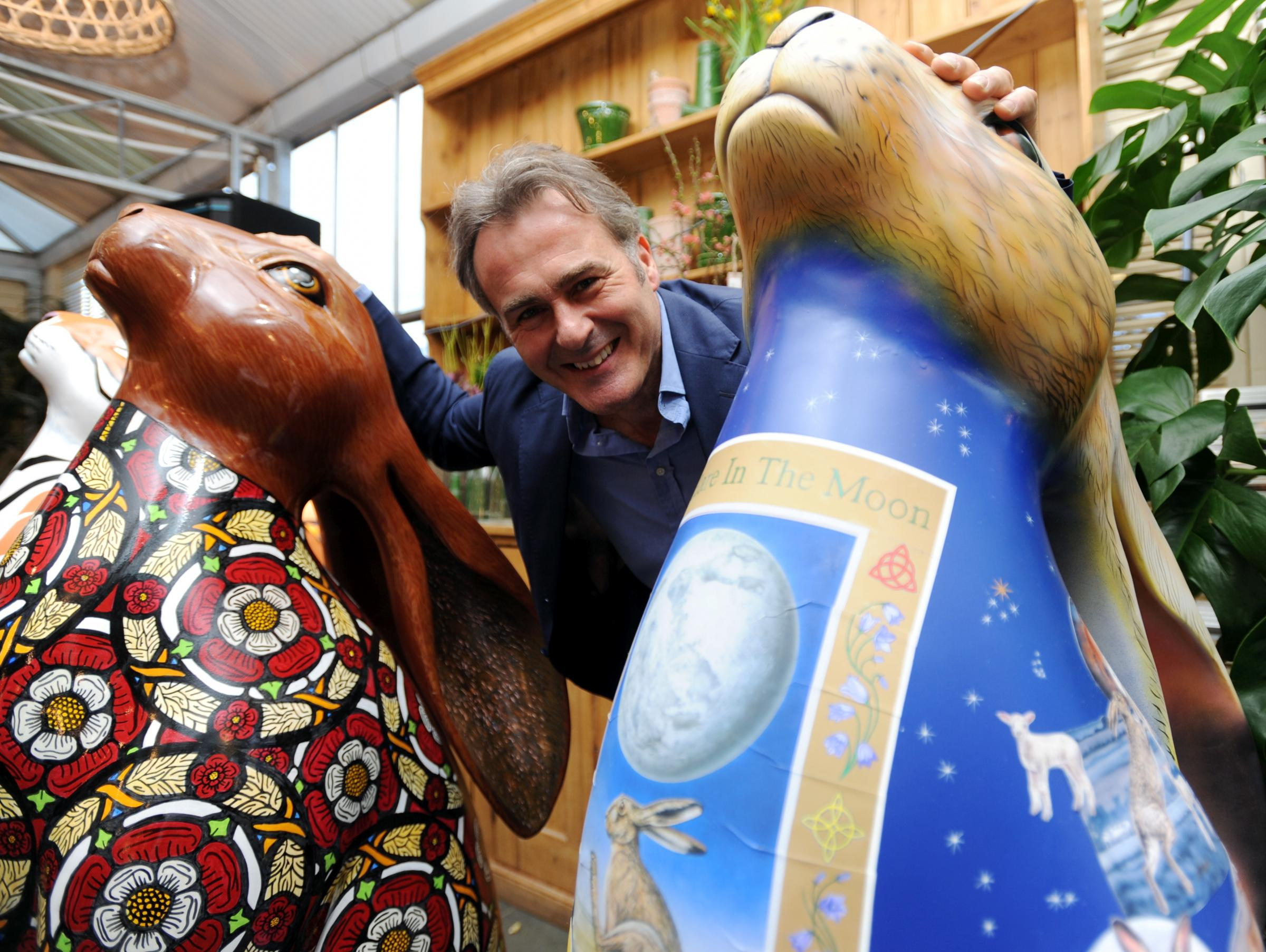 Paul Martin of Flog It at the Cotswold Hare Trail Meet the Hares Preview Fundraising Event held at the Burford Garden Company in Burford,Oxfordshire, England on Thursday 9th March. The launch is in Woodstock on the 22nd March, with the public trail starti