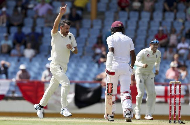 James Anderson celebrates the wicket of Kraigg Brathwaite