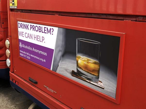 A new ad for Alcoholics Anonymous which will be on the backs of Swindon buses.