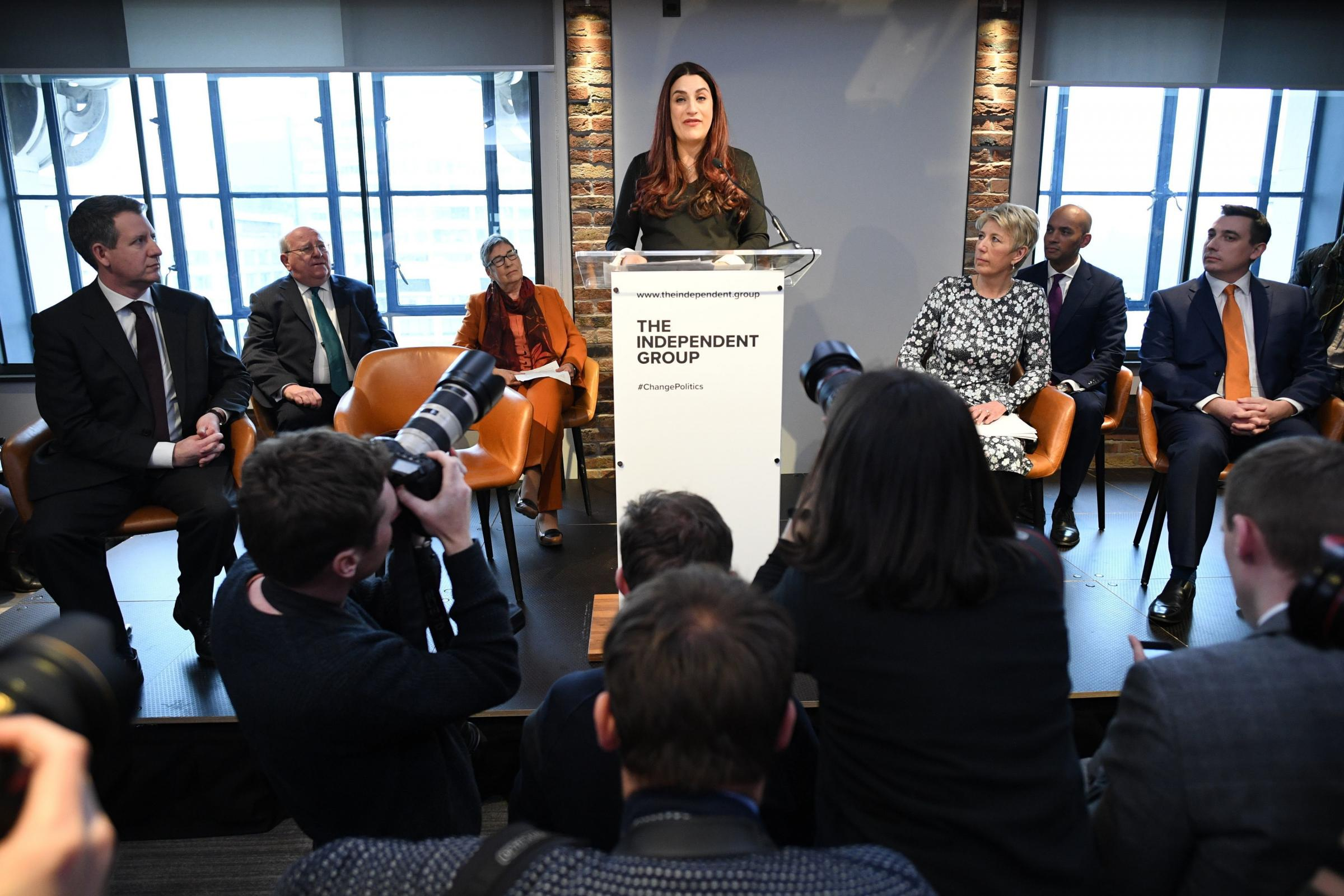 Labour MP Luciana Berger who has announced her resignation during a press conference at County Hall in Westminster, London where a group of six Labour MPs, including Chris Leslie, Chuka Umunna, Gavin Shuker, Angela Smith and Mike Gapes announced their res