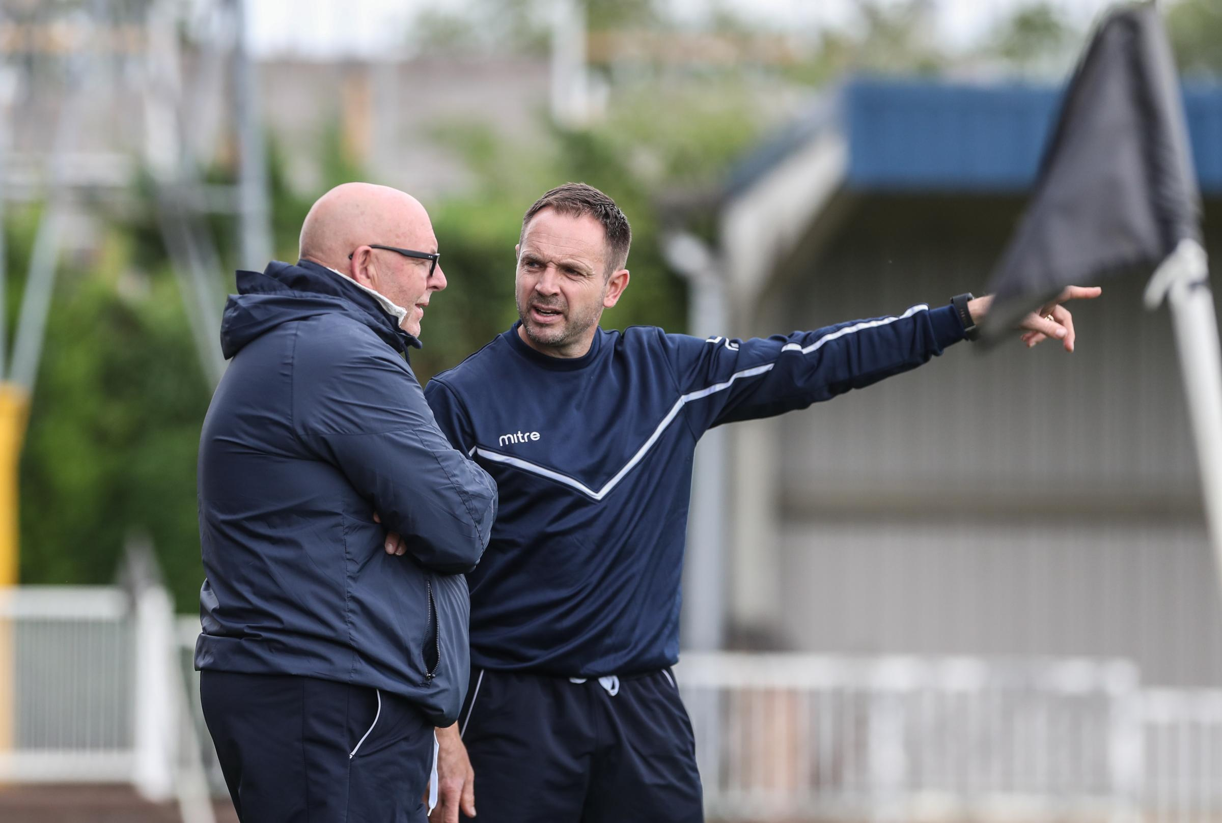 Swindon Supermarine manager Lee Spalding (right) talks tactics with assistant Kevin Milsom
