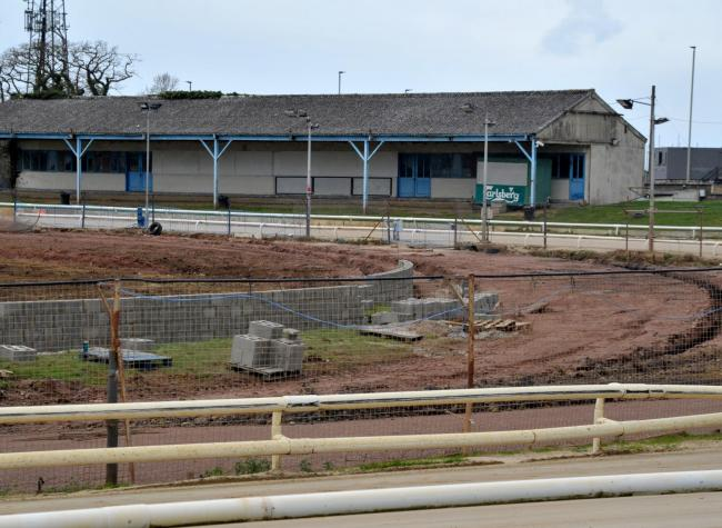 Work on a new speedway track at Swindon Robins' Abbey Stadium home started on Sunday morning following the completion of a new retaining wall last week