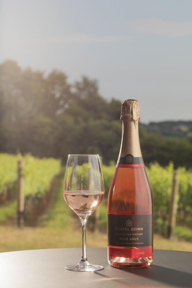 Photo of Chapel Down Rose Brut NV, England, in vineyard