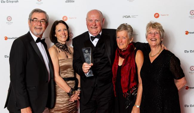 Wiltshire representatives receive their award from England Golf Board member Martha Brass (second left).