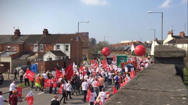 The  front of the Save Honda Swindon march on Fleming Way