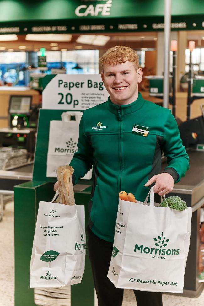 Morrisons is to offer paper carrier bags to all customers as part of its continuing drive to remove unnecessary plastic from its stores.