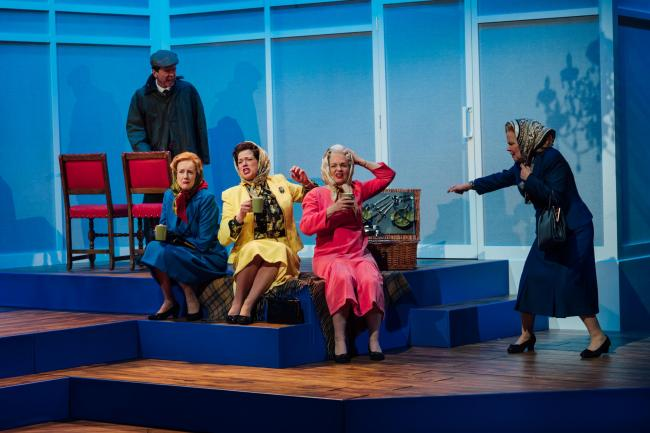 HANDBAGGED by Moira Buffini ;.Directed by Jo Newman ;.Set Design by Dawn Allsopp ;.Lighting Design by James Mackenzie ;.Movement Director: Natasha Harrison ;.Salisbury Playhouse ;.Wiltshire Creative ;.4 April 2019 ;.Credit and Copyright: Helen Murray.