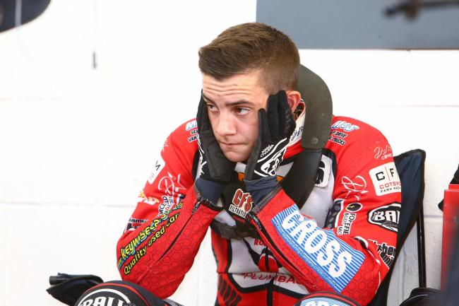 Swindon Robins' reserve Zach Wajtknecht in the pits during the 55-35 defeat to Belle Vue. Picture: LES AUBREY.