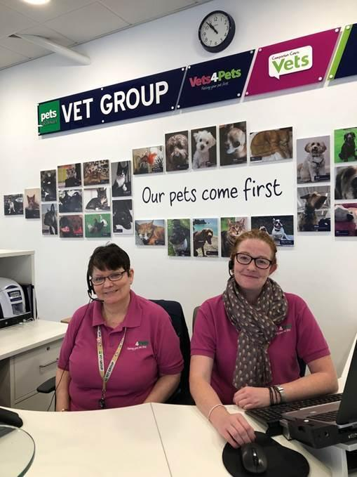 Lesley and her colleague Emma at Vets4Pets in Swindon
