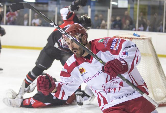 Swindon Wildcats Vs MK Thunder, Jan Kostal Scores for the Cats, Picture Ryan Ainscow, 24.11.18.
