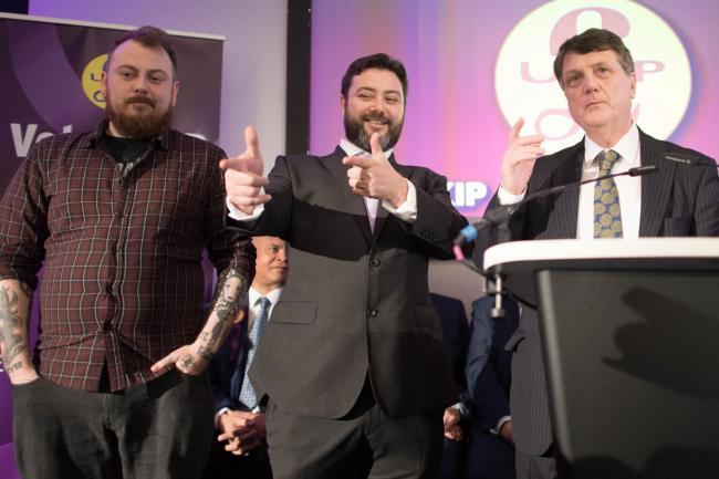 UKIP supporters Mark Meechan (left) and Carl Benjamin with UKIP Leader Gerard Batten (right) during the launch of the party's European Parliament election campaign in Westminster, London. PRESS ASSOCIATION Photo. Picture date: Thursday April 18, 2019.