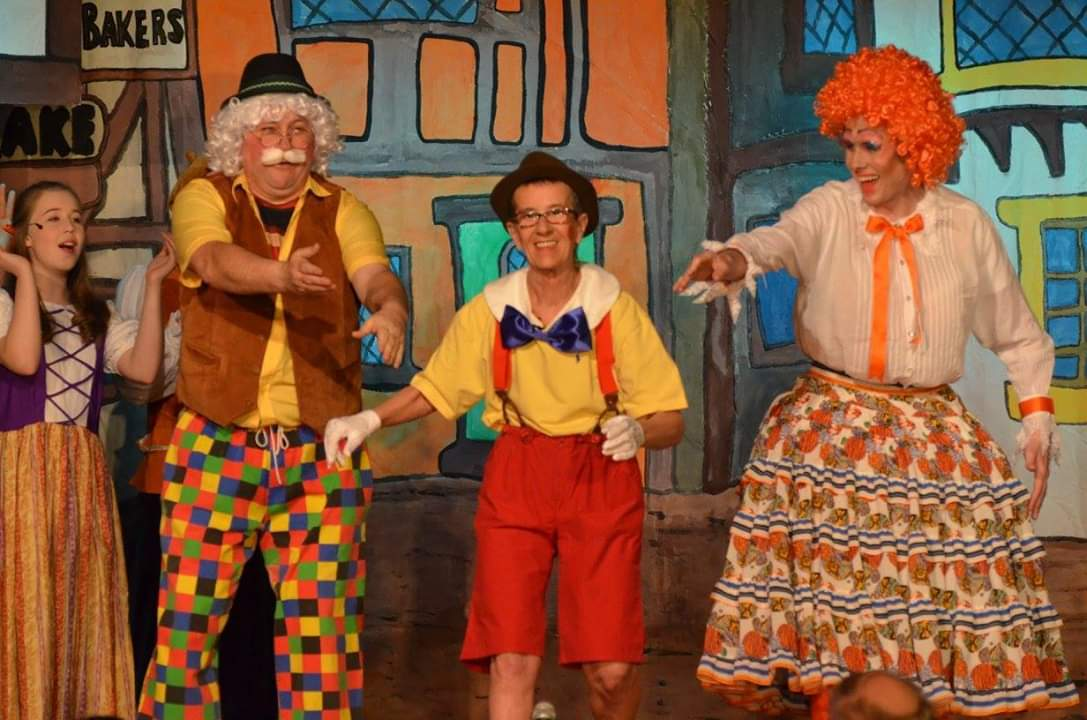 Stuart Dark as Gepetto, Pinocchio, played by  TK McCue, and Barbie Botox played by Ben Robinson