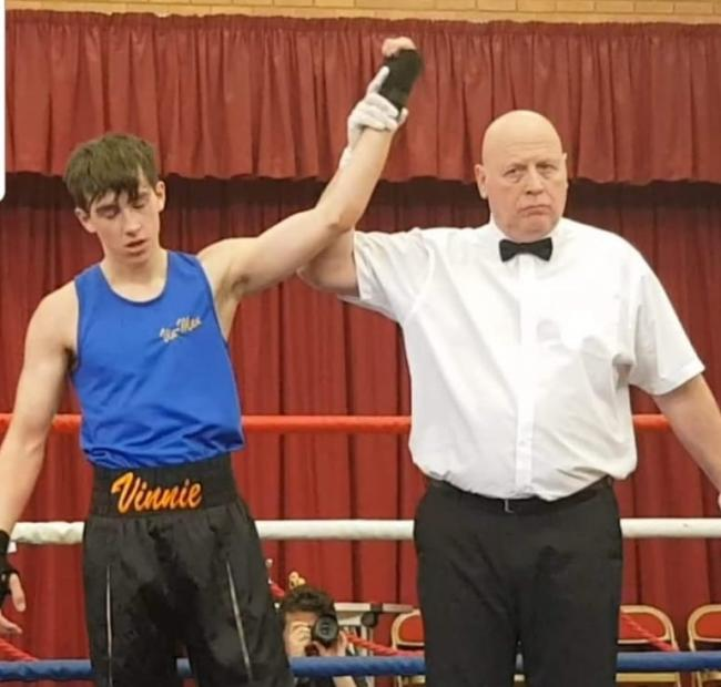 Walcot ABC's Vinnie Smith has his hand raised in victory. PICTURE: JOHN MCGRATH