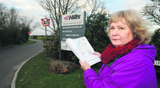 Jacqui Lay, the councillor for Purton, at the entrance to the Hills recycling site in Purton