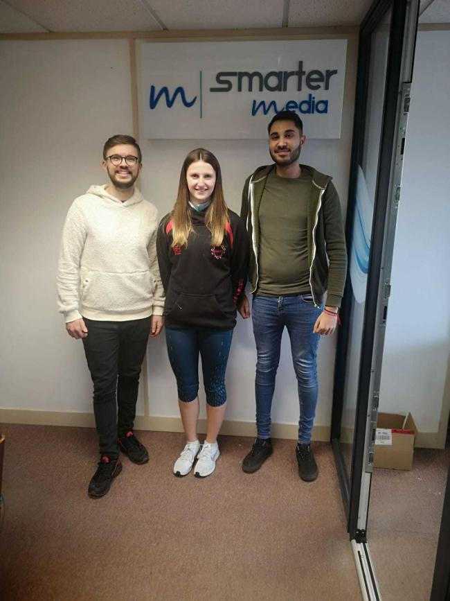 Abby Miles with Rob Curtis and Raj Shergill from Smarter Media