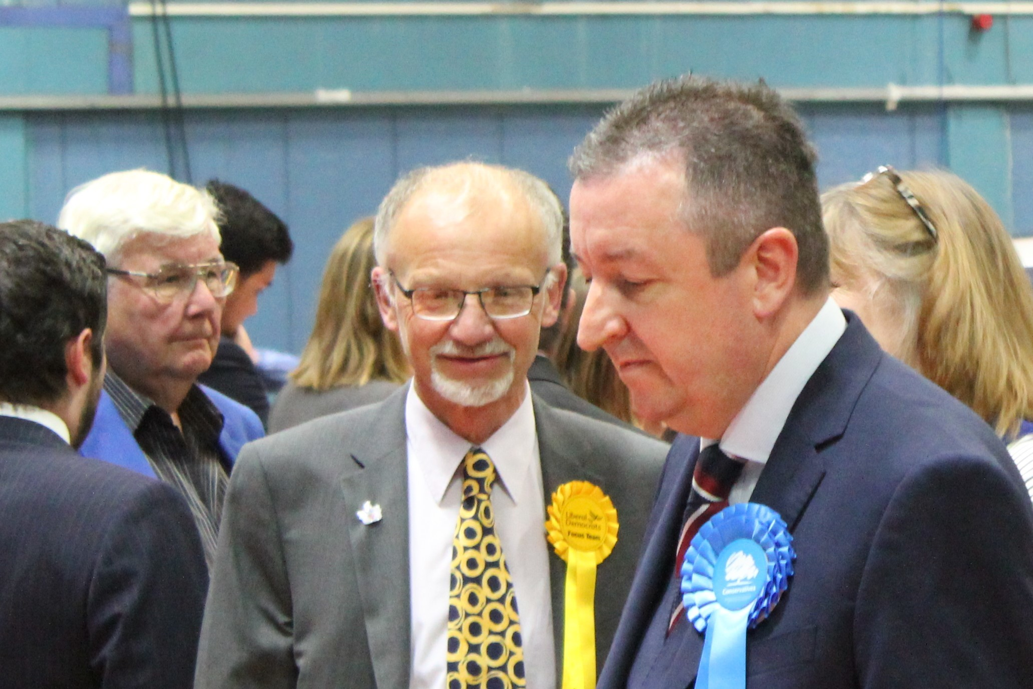 Stan Pajak (centre) at the election count 2019 flanked by Conservatives Brian Ford and Gary Sumner