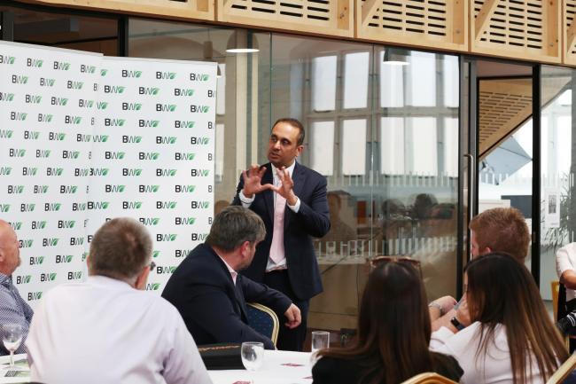 small business commissioner Paul Uppal talking at The Workshed. Picture: Lis McDermott