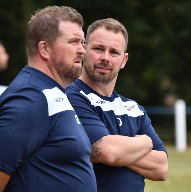 Shrivenham manager Gareth Davies (right). Shrivenham 1 Virginia Water 1. Picture: CALYX PIX