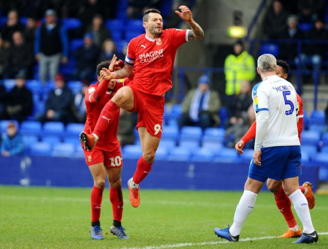 Tranmere v STFC         Pic Dave Evans      19/01/2019.Marc Richards celebrates his goal which put Town one up at Prenton Park..