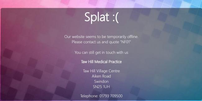 A screenshot from the Taw Hill Medical Practice website, which is currently down