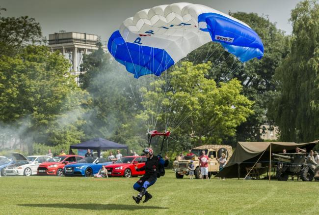 Swindon Armed Forces Day held at Faringdon Park .Pictured Poppy parachute team .23/06/18.Pictures Clare Green/www.claregreenphotograpy.com.