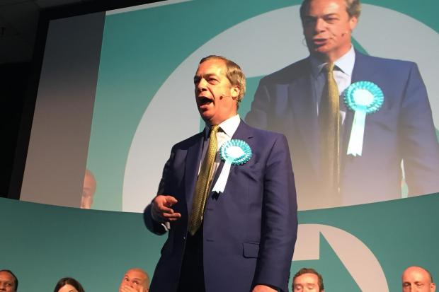 Swindon Advertiser: Brexit Party leader Nigel Farage speaks at the Corn Exchange, Edinburgh